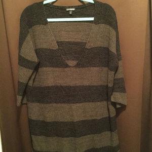 Express Tunic Length V Neck Sweater